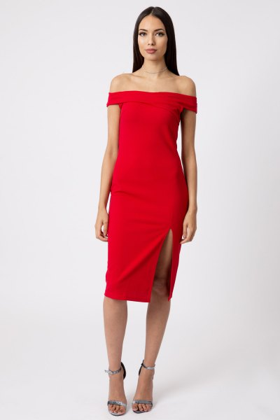 red off the shoulder high split bodycon dress