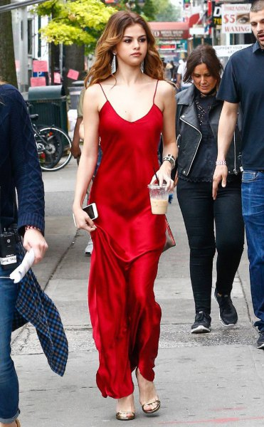 red satin scoop neck floor length dress