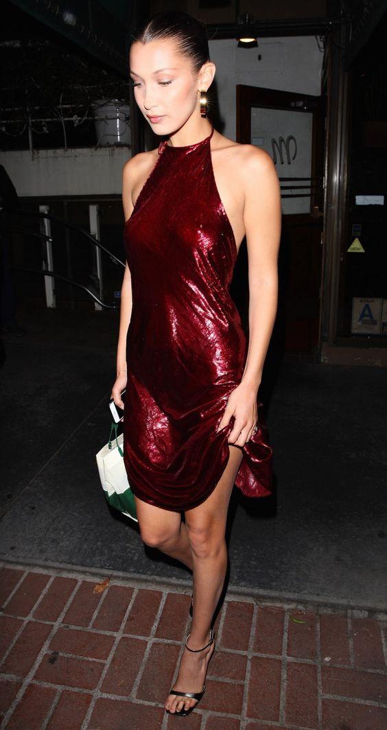 red sequin dress halter neckline