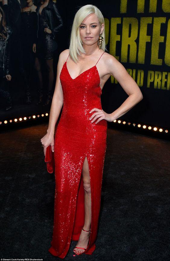 red sequin dress side slit