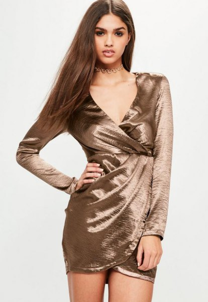 rose gold long sleeve satin wrap dress