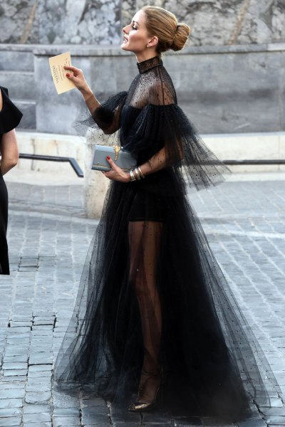 semi sheer black maxi chiffon dress