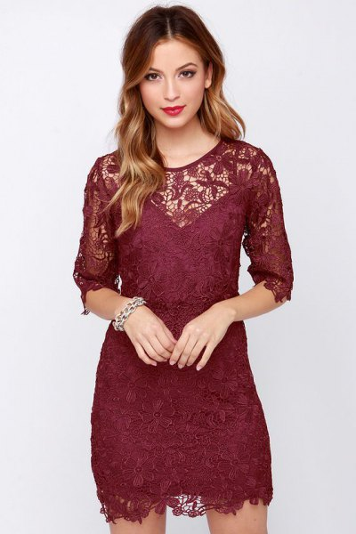 semi sheer burgundy v neck bodycon dress
