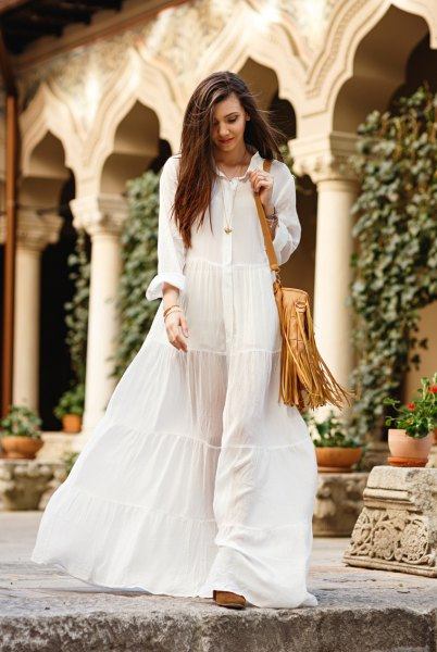 semi sheer white button up maxi dress