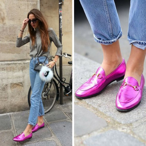 shiny shocking pink loafers mom jeans