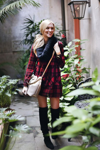 How To Style Red Plaid Dress 15 Best Casual Outfits