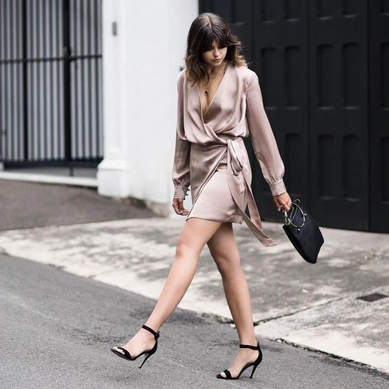 silk wrap dress blush pink