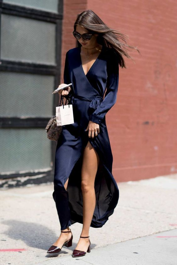 silk wrap dress navy blue