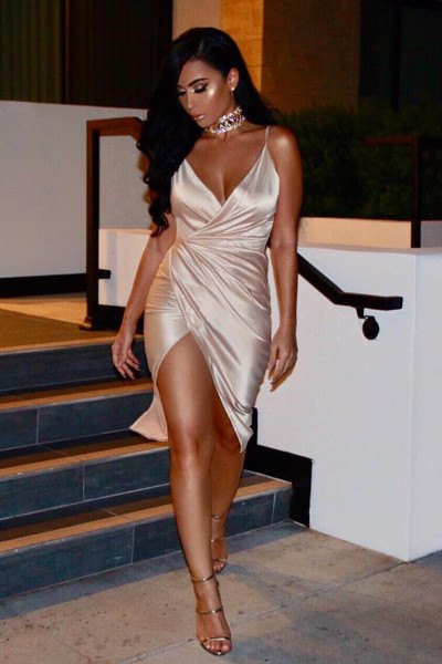 silver deep v neck satin wrap dress