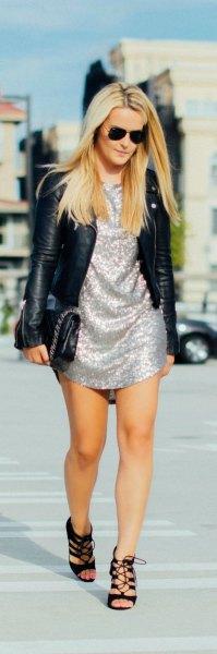 silver shift dress black leather jacket