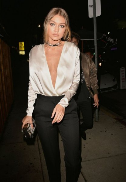 silver silk deep v neck blouse outfit