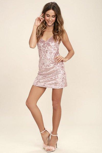 silver slip dress fluffy heels