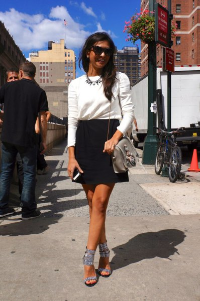 silver sparkly heeled sandals white sweater black pencil skirt
