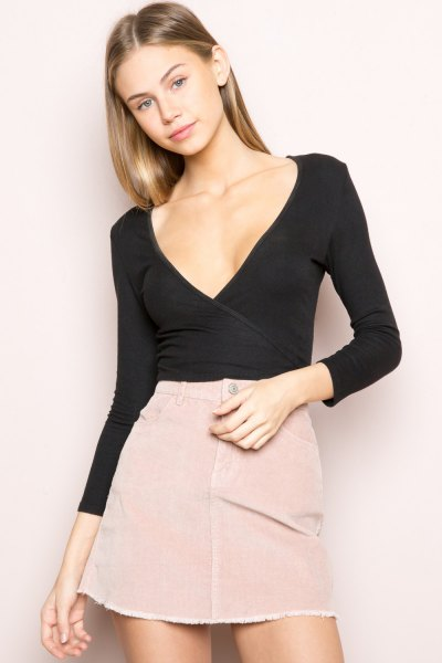 skinny fit black wrap top pink a line mini skirt