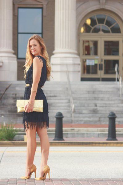 sleeveless belted fringe mini dress