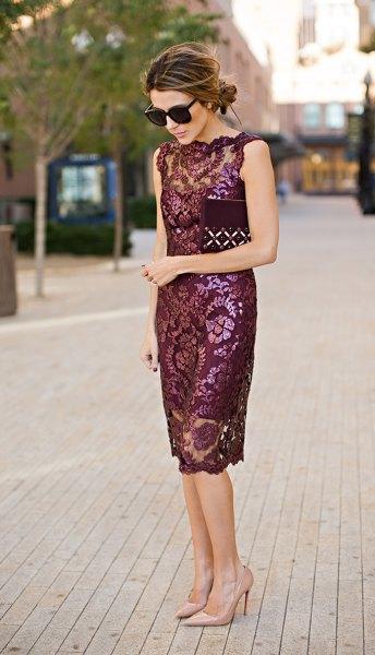 sleeveless bodycon midi lace dress