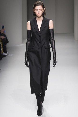 sleeveless midi tuxedo dress long gloves