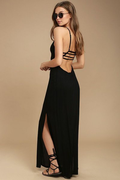 strappy backless black dress gladiator sandals