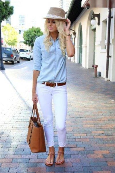 straw hat chambray shirt white jeans