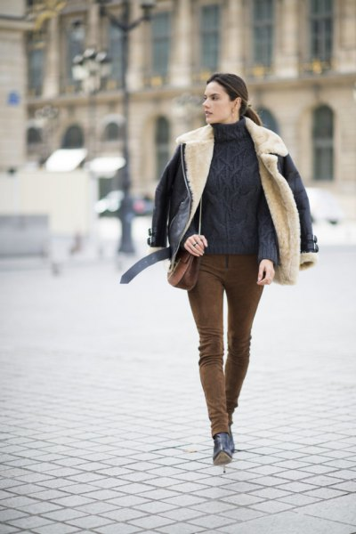 suede pants chunky knit sweater black leather jacket