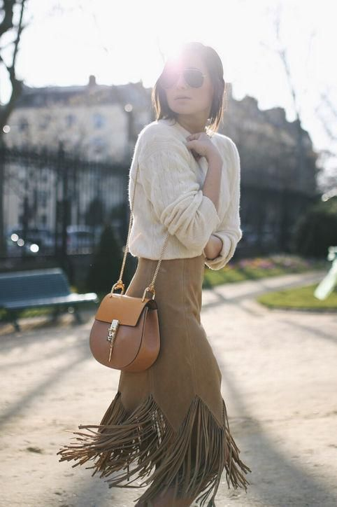 suede skirt fringes