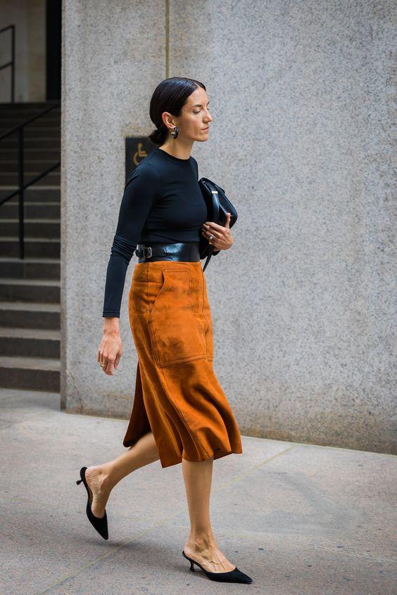 suede skirt orange