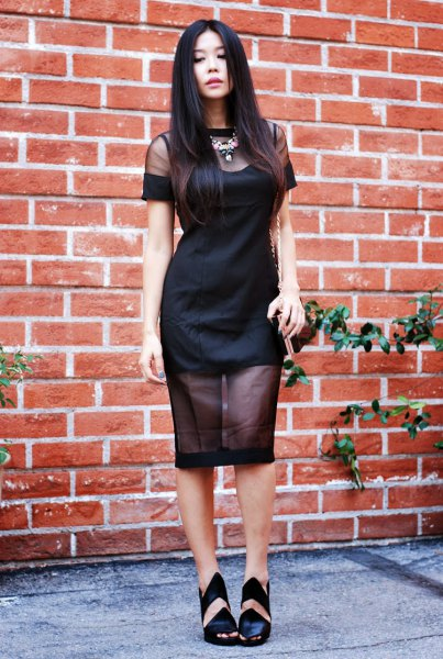 two layered black sheer bodycon dress