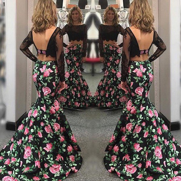 two piece black floral mermaid dress