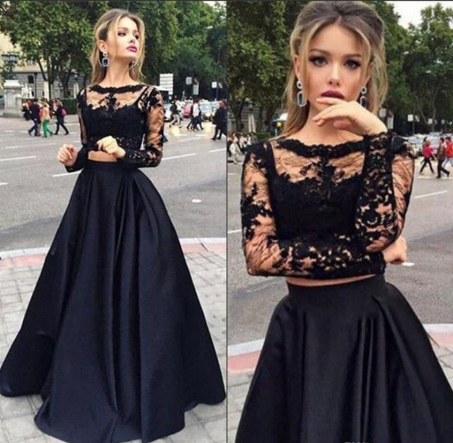two piece lace and satin maxi tulle dress