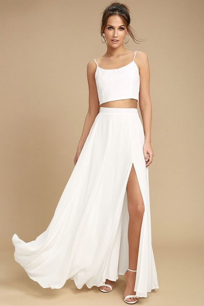two piece white maxi dress