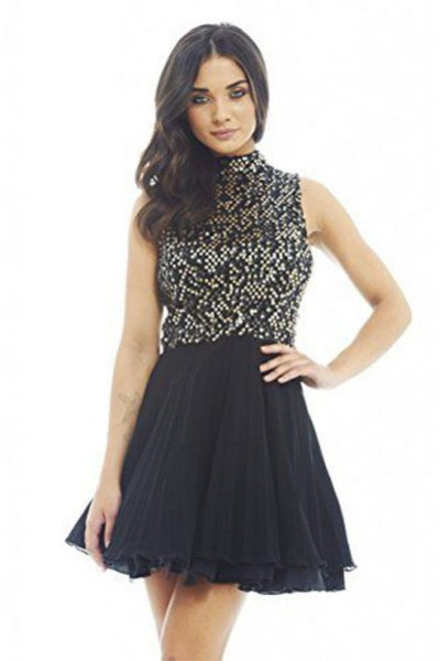 two toned crew neck tulle dress