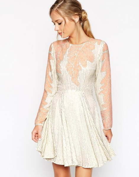white and pink embellished flare mini dress