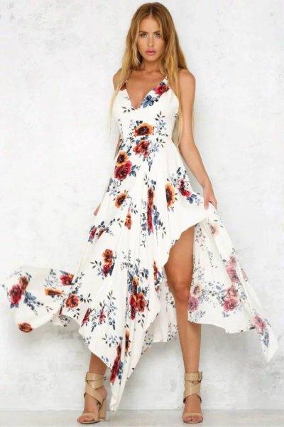 white asymmetric floral long dress