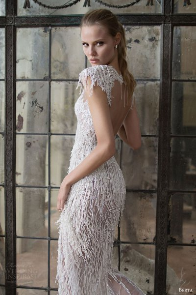 white backless fringe wedding dress