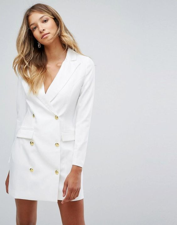 white blazer dress gold buttons