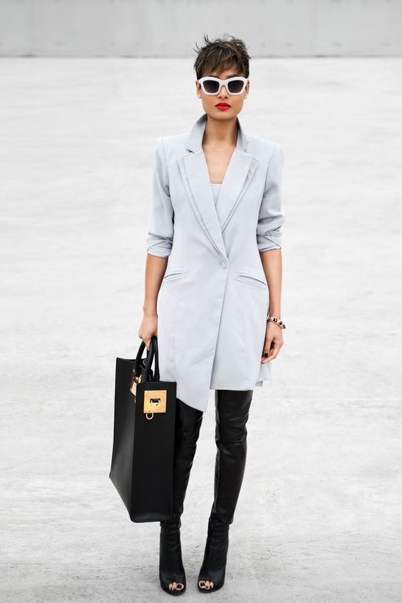 white blazer dress black thigh high boots black