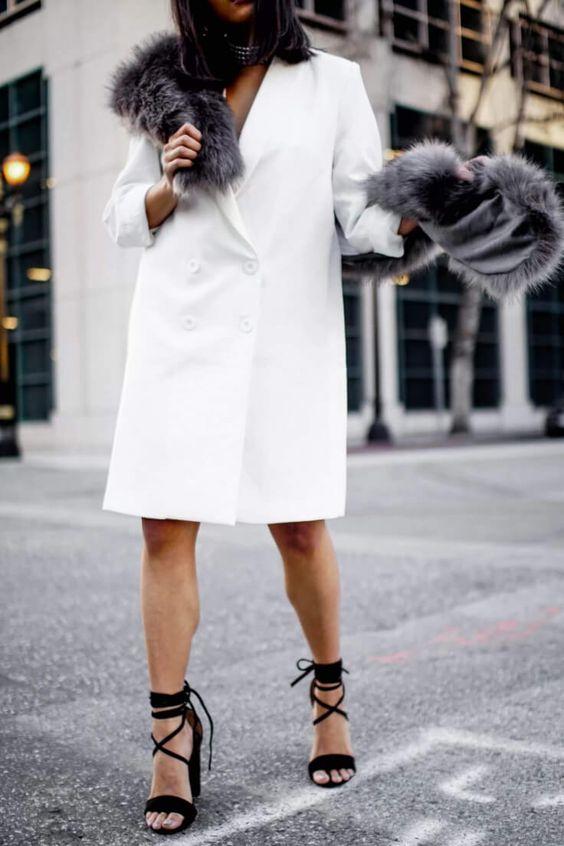 white blazer dress fur details