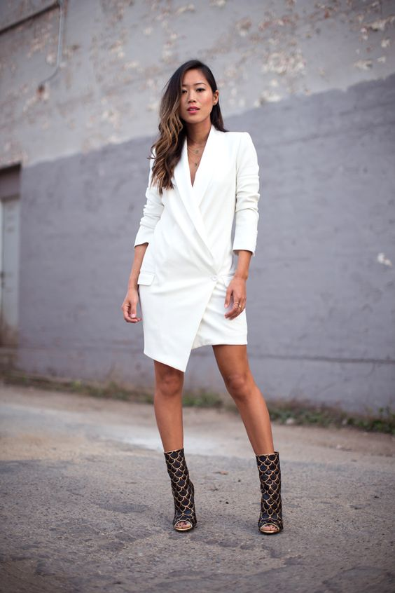 white blazer dress wrapped