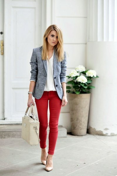 white blouse grey blazer