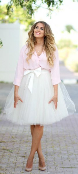 white blouse knotted chiffon tulle skirt