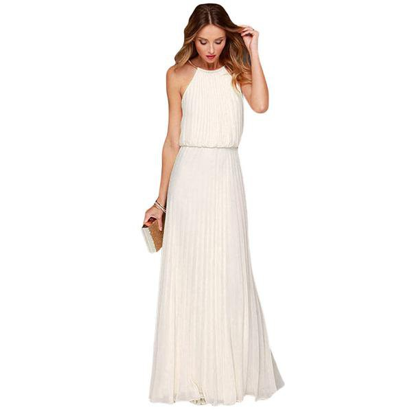 white boho gathered waist floor length dress