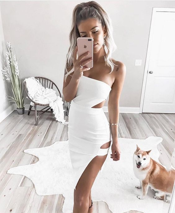 white cut out dress godess