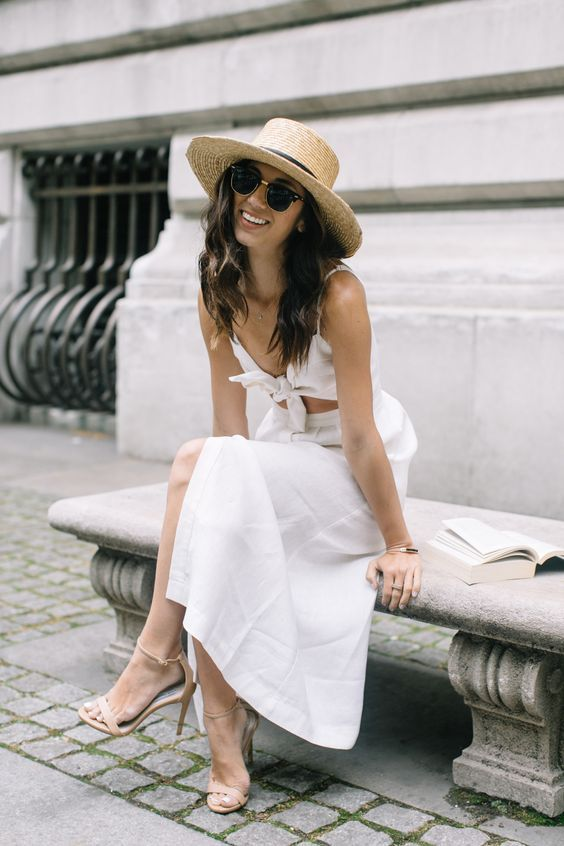 white cut out dress knot