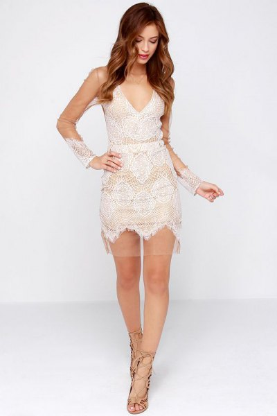 white deep v neck lace mini dress mesh overlay