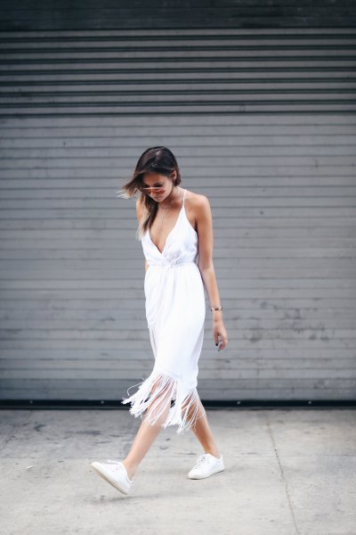 white deep v neck midi fringe dress