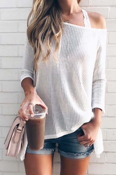 white drop shoulder knit sweater lace bralette