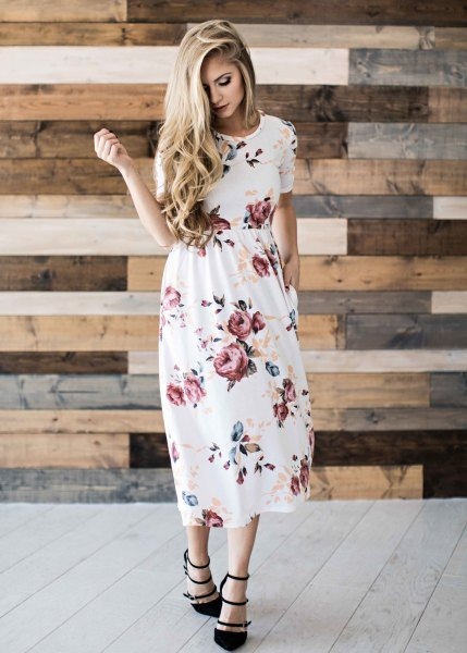 white floral gathered waist midi dress