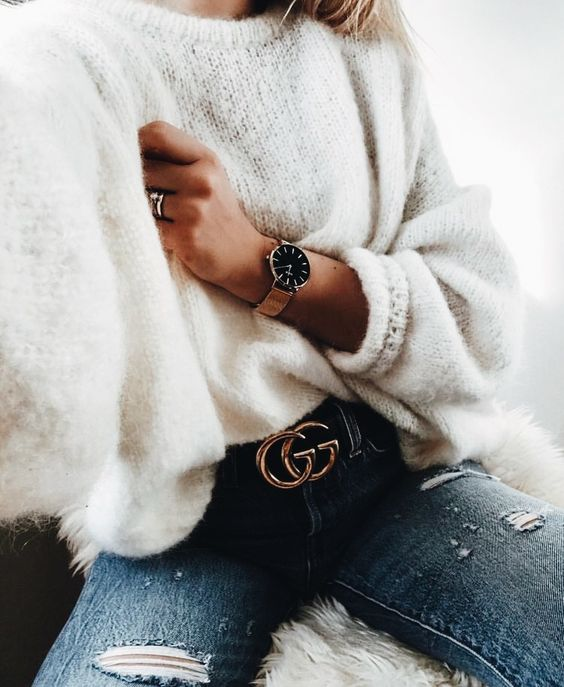 white fluffy sweater jeans