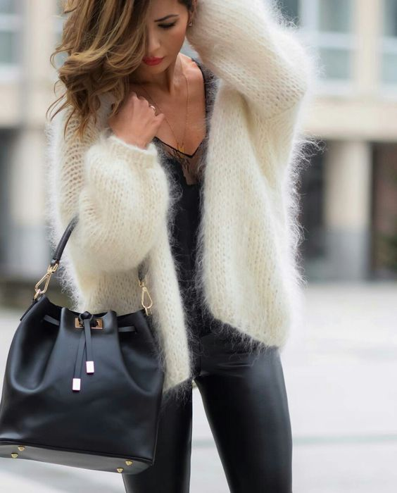 white fluffy sweater leather pants
