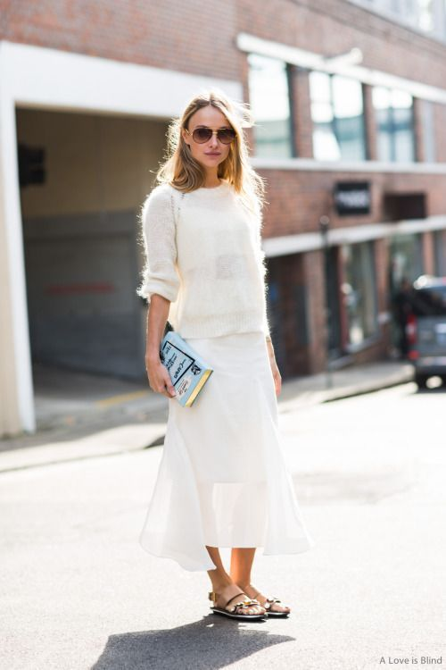 white fluffy sweater maxi skirt